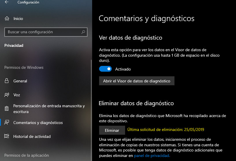 telemetría de Windows 10