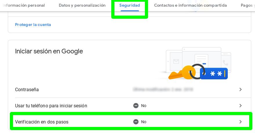 Iniciar la activación de la autenticación en dos pasos de Google