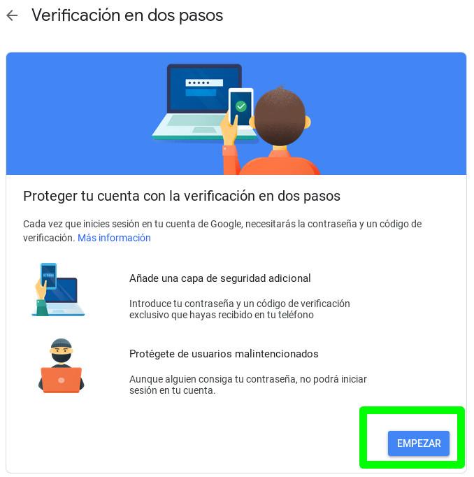 Empezando la activación de la autenticación en dos pasos de Google