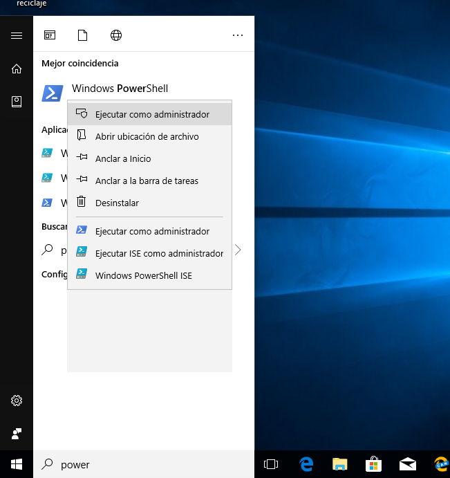 Poniendo en marcha PowerShell en Windows 10 con permisos de administrador