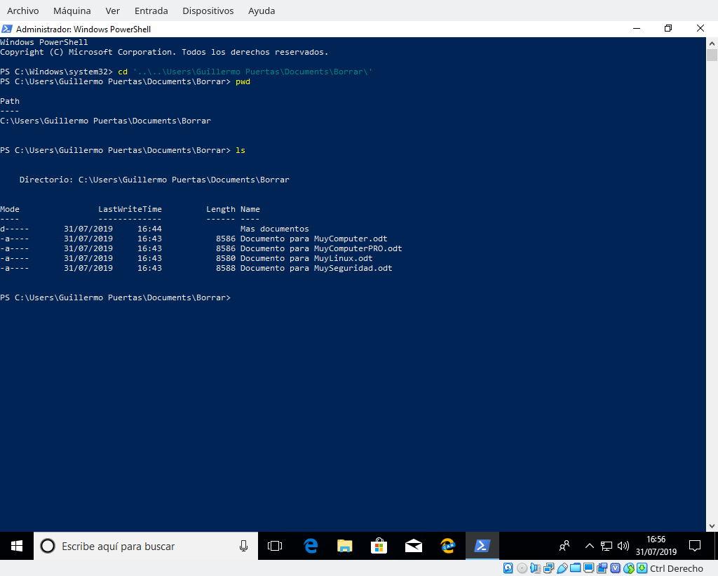 Dirigiéndose con el comando CD de PowerShell a la carpeta con los ficheros que ocupan el espacio que se quiere borrar con SDelete