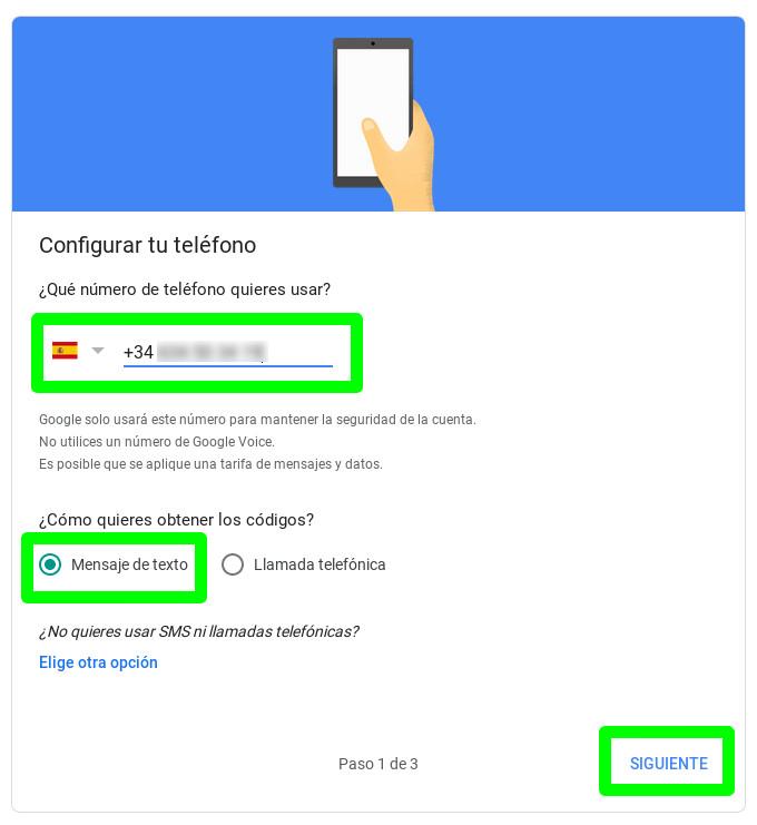 Introduciendo el número de teléfono para la cuenta de Google