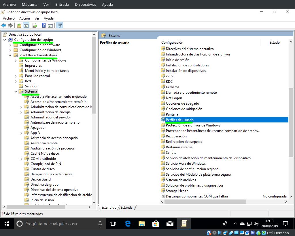 Llegando a la sección de Perfiles de usuario en Editar directiva de grupo desde la Configuración del equipo en Windows 10 Pro
