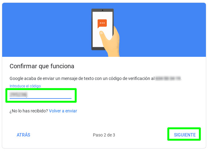 Introduciendo el código para activar la autenticación en dos pasos en una cuenta de Google
