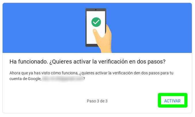 Terminando de activar la autenticación en dos pasos para una cuenta de Google