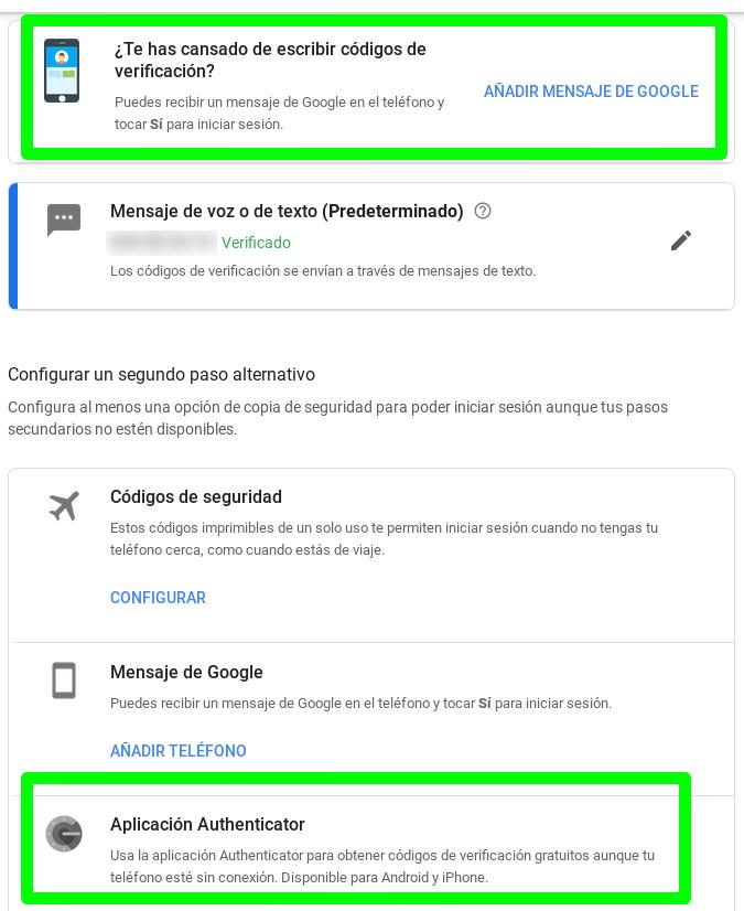 Habilitar recepción de mensajes o Aplicación Authenticator para una cuenta de Google