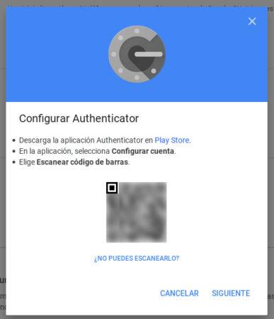 Código QR a escanear con Aplicación Authenticator de Google