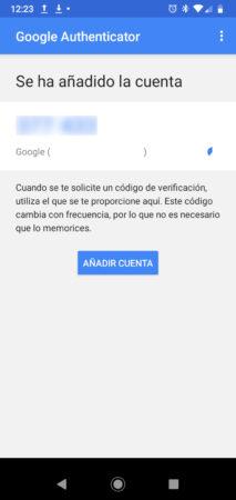 Código arrojado en el móvil tras escanear el código QR con Aplicación Authenticator de Google