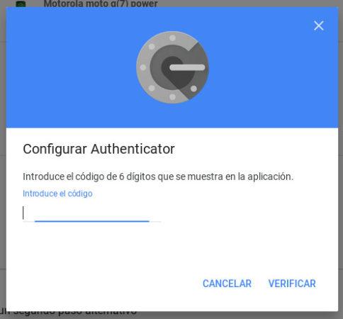 Introduciendo el código obtenido en el móvil tras escanear el código QR obtenido con Aplicación Authenticator de Google