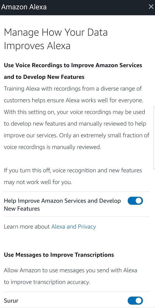 Amazon Alexa permite al usuario excluirse de las escuchas por parte de empleados humanos en las opciones de privacidad