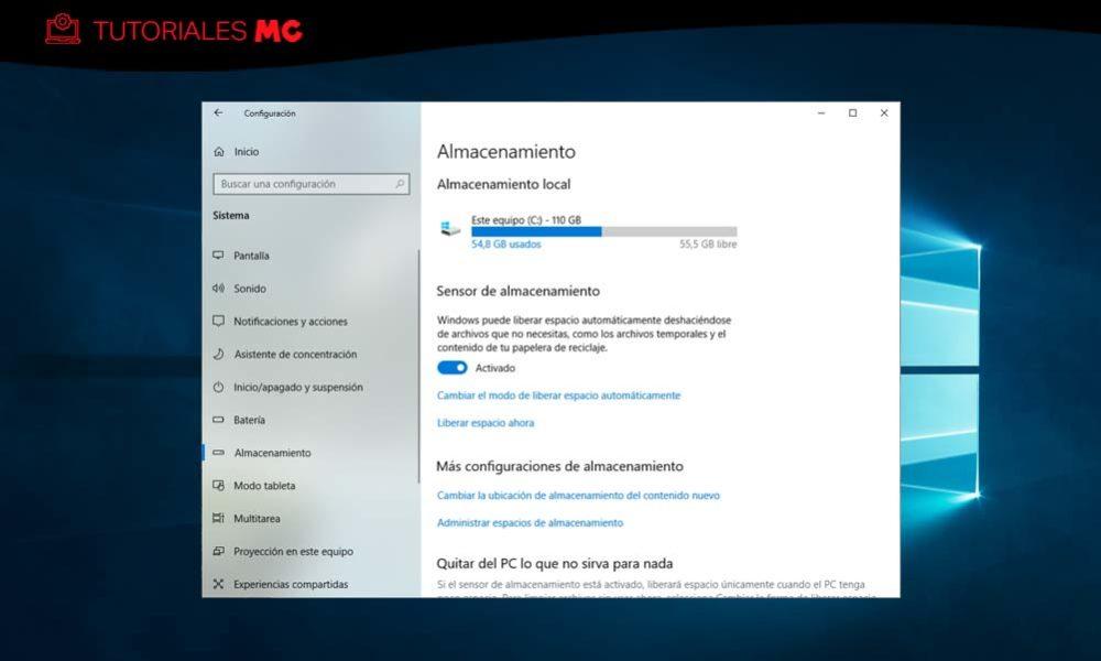 Cómo ahorrar espacio almacenamiento Windows 10