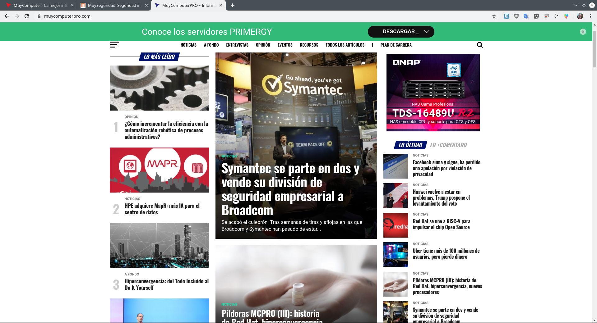 Chrome para Linux cargando MuyComputerPRO, MuySeguridad y MuyComputer