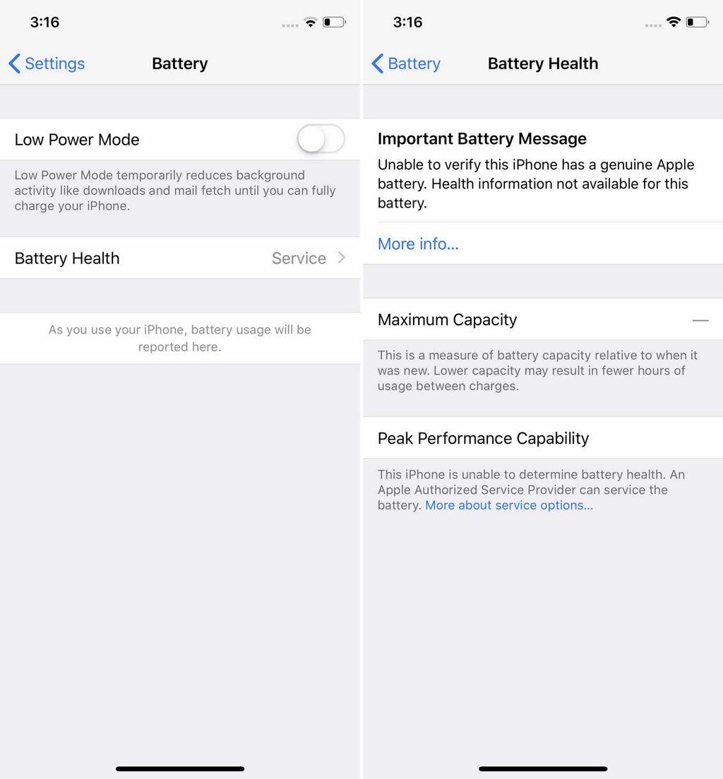 Información que muestra iOS cuando la batería no ha podido se autenticada en un modelo de iPhone reciente