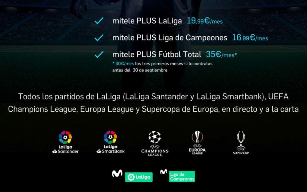 Oferta fútbol Mitele LaLiga Champions League