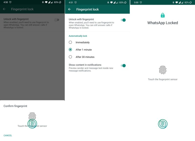 WhatsApp Bloqueo por Huella Digital