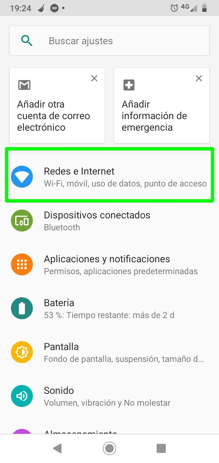 Dirigirse a Redes e Internet en los Ajustes (configuración) de Android