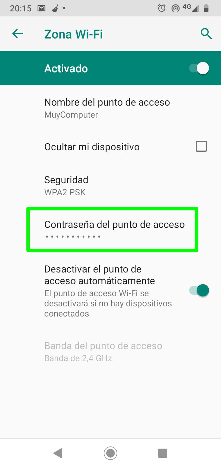Establecer la contraseña del punto de acceso Wi-Fi en Android