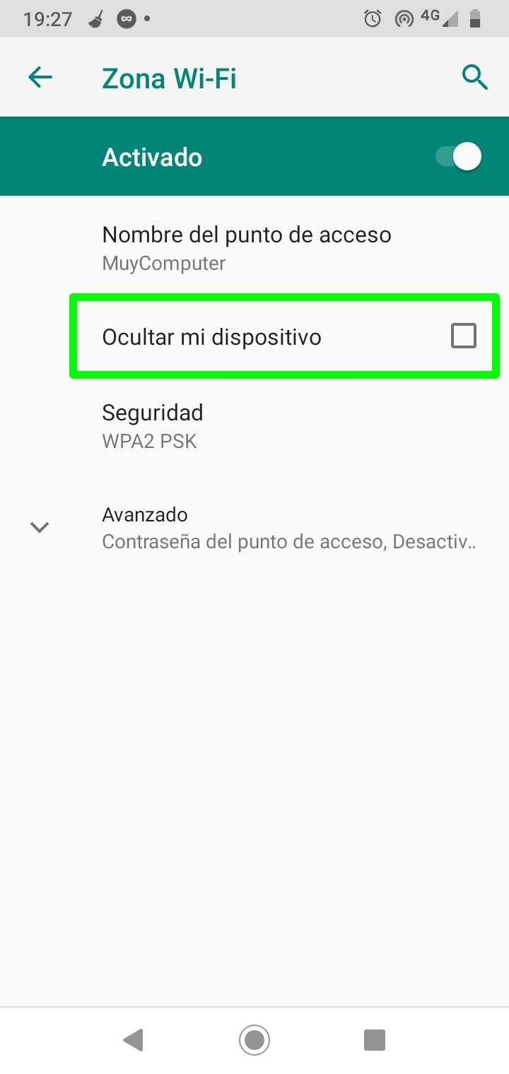 Ocultar el punto de acceso Wi-Fi de Android