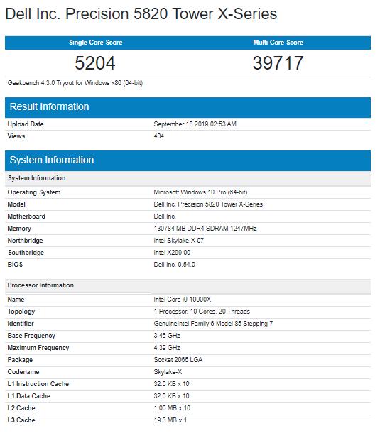 El Intel Core i9-10900X aparece en Geekbench y queda por debajo del Ryzen 9 3900X 33
