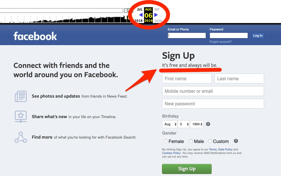 """""""Es gratis y siempre lo será"""", el antiguo eslogan de Facebook"""