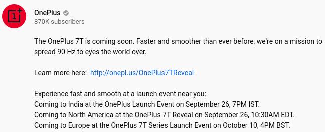Eventos programados para lanzar o presentar los OnePlus 7T en Norteamérica, India y Londres