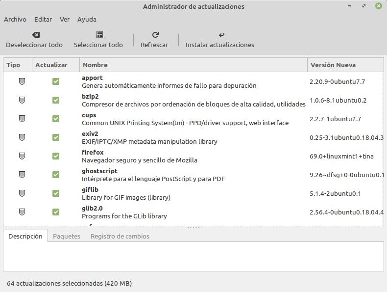 Gestor de actualizaciones de Linux Mint