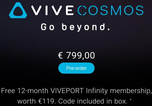 Precio en euros del HTC Vive Cosmos VR