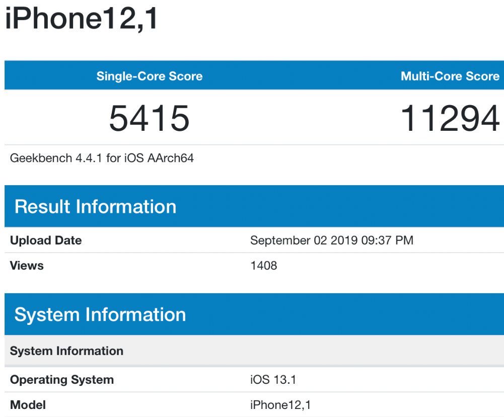 benchmark de iPhone 11