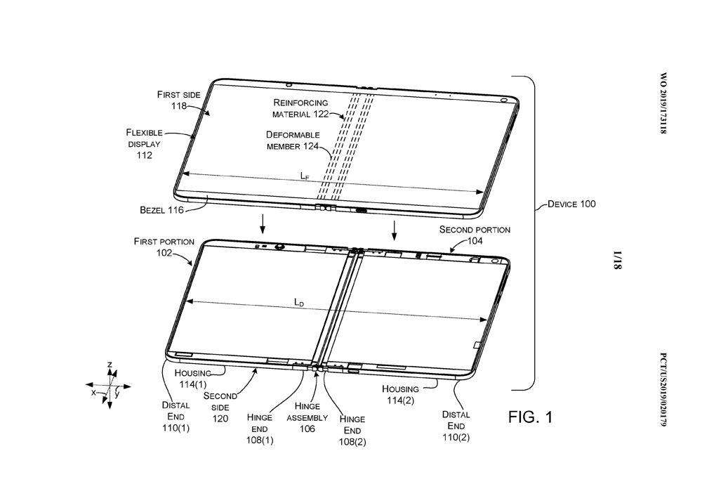 dibujo de la solicitud de patente de Microsoft para una pantalla pelgable