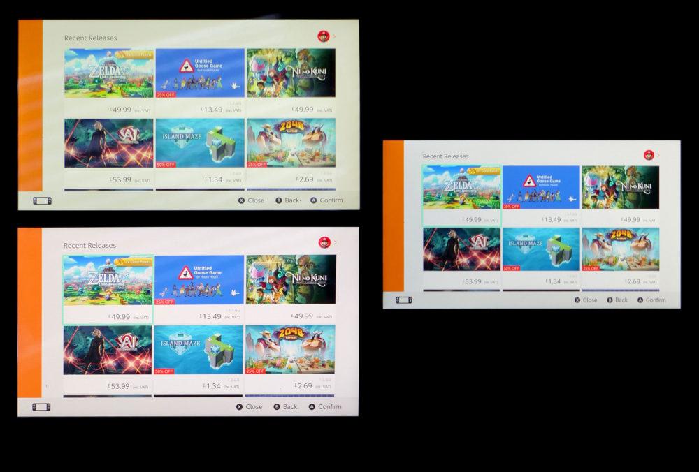 Nintendo Switch Lite comparación de pantalla