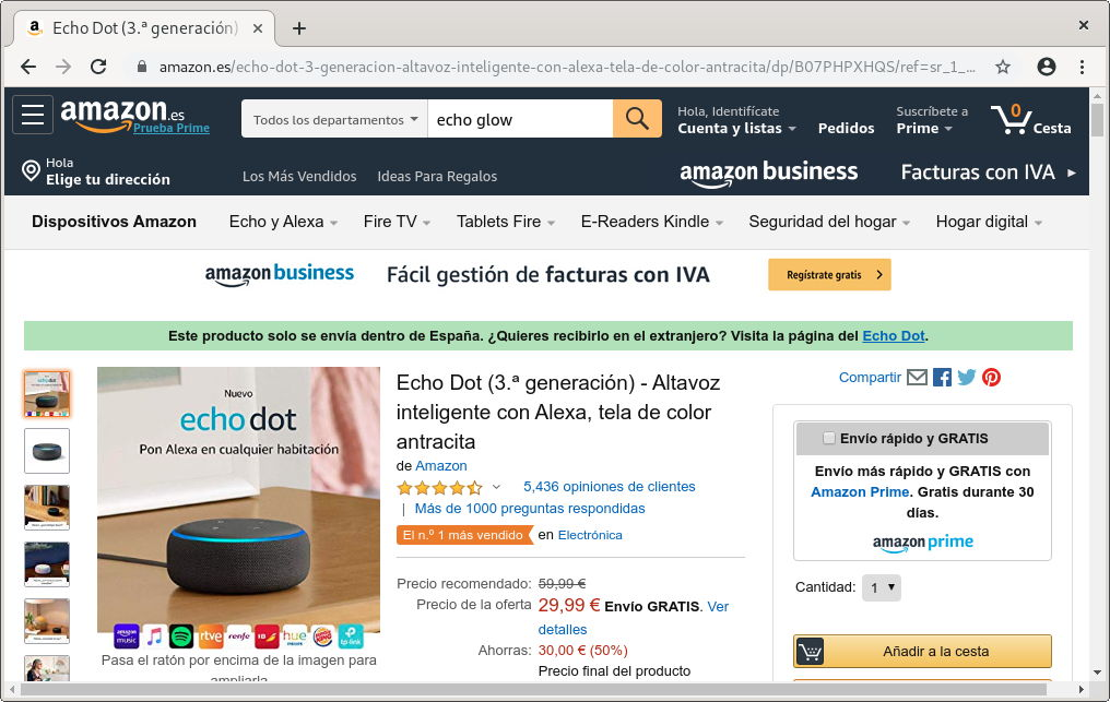 Amazon Echo Dot rebajado de precio en España