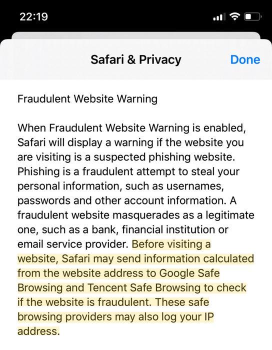 Aviso de Apple Safari de que envia datos a Google y Tencent