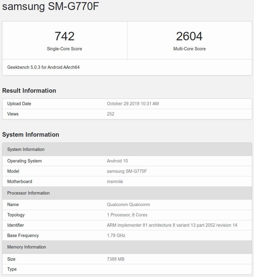 Resultados del Samsung Galaxy S10 Lite en Geekbench