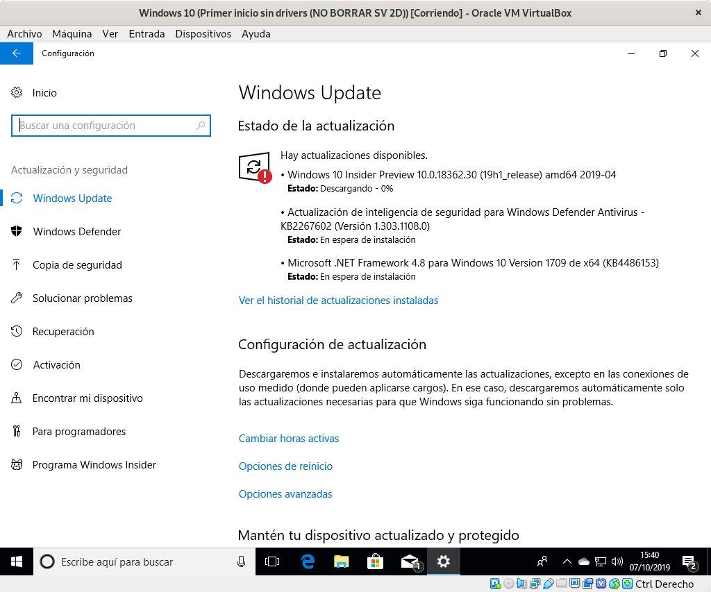 Windows 10 actualizando con Windows Update