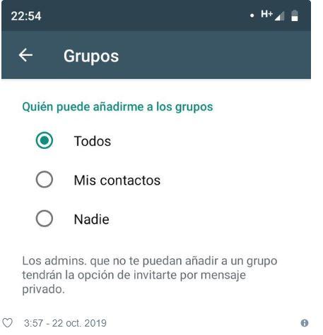 WhatsApp activa una opción para evitar que te agreguen a grupos sin tu permiso 32
