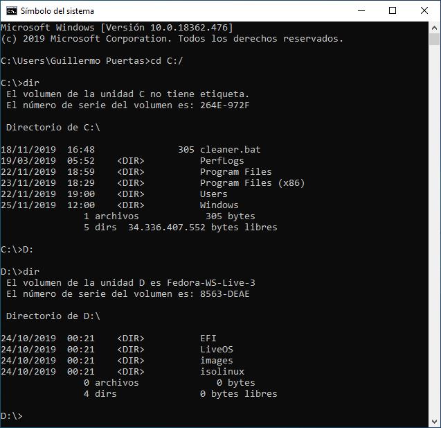 Letras de las unidades a través de CMD, el emulador de MS-DOS de Windows 10