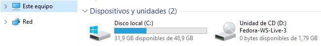 Dispositivos y unidades presentes en Windows 10
