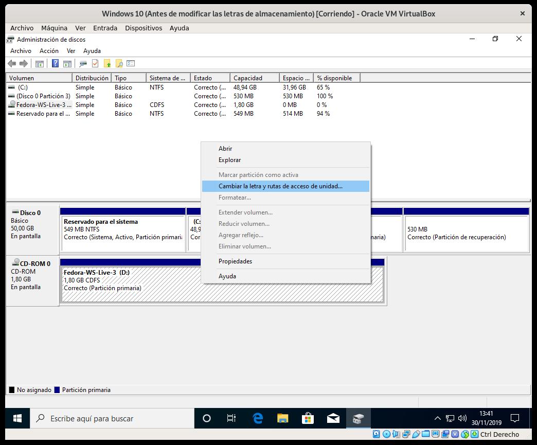Cambiando el punto de montaje a la unidad de CD-ROM en Windows 10 1