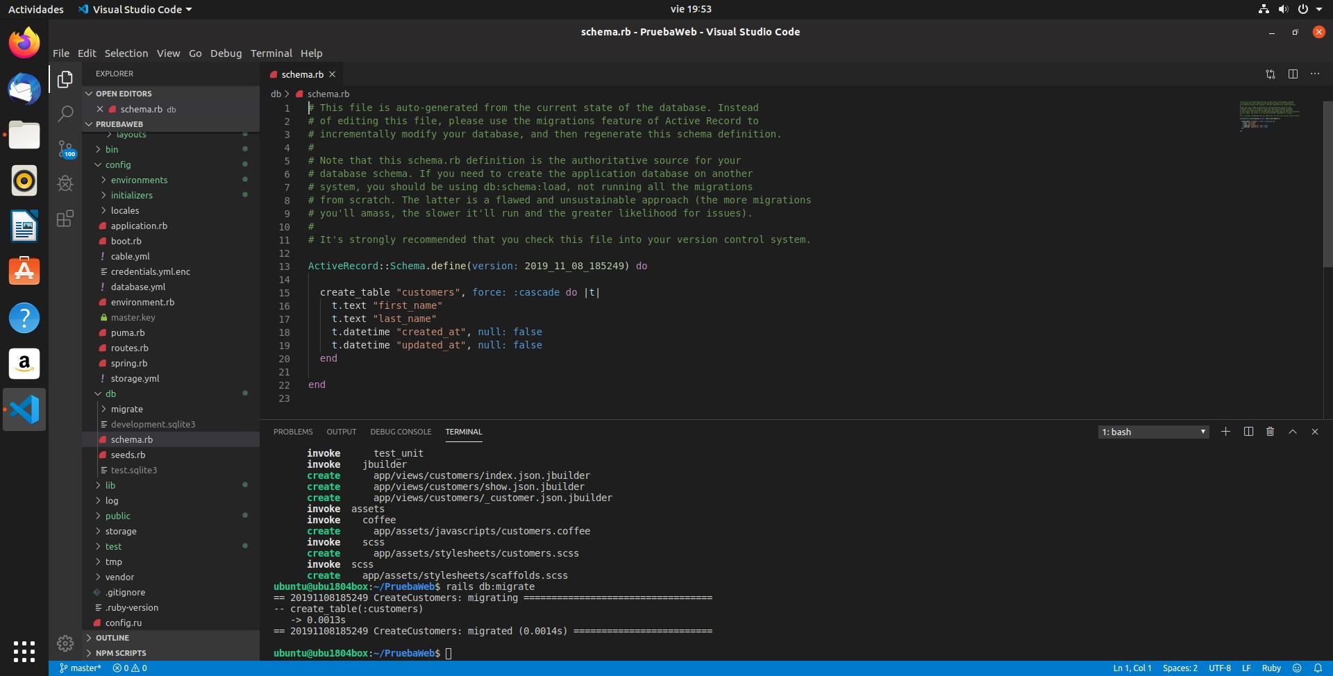 Línea de comandos e interfaz gráfica combinados en Visual Studio Code para trabajar con Ruby on Rails en Ubuntu