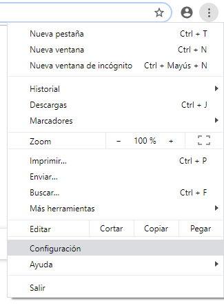 Yendo a la configuración de Chrome