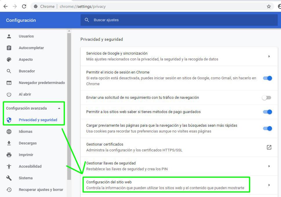 Accediendo a la configuración de Privacidad y seguridad en Chrome