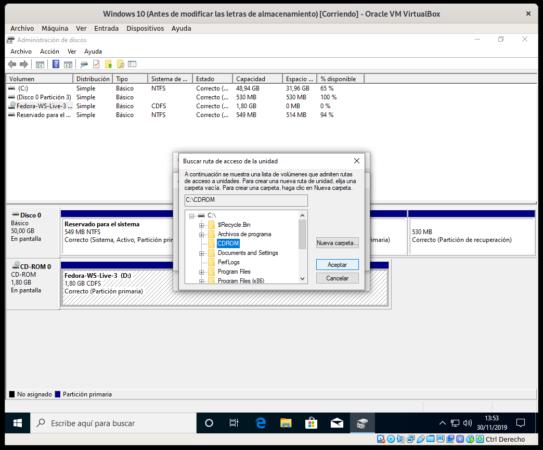 Cambiando el punto de montaje a la unidad de CD-ROM en Windows 10