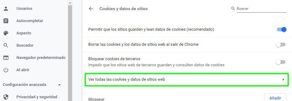 Ver todas las cookies y datos de sitios web en Chrome