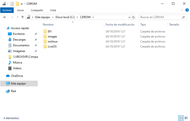Unidad de CD-ROM montada en otra ubicación dentro de C: en Windows 10