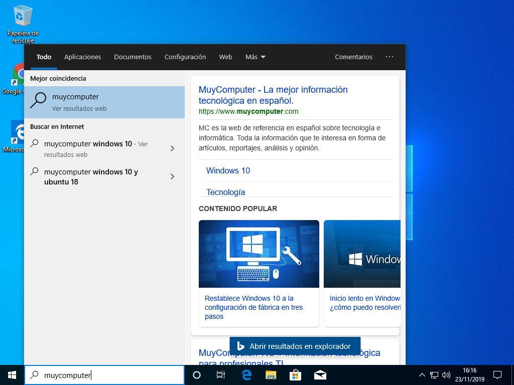 Barra de busqueda de Windows 10 funcionando con Bing