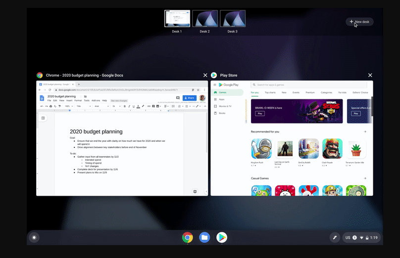Chrome OS estrena escritorios virtuales