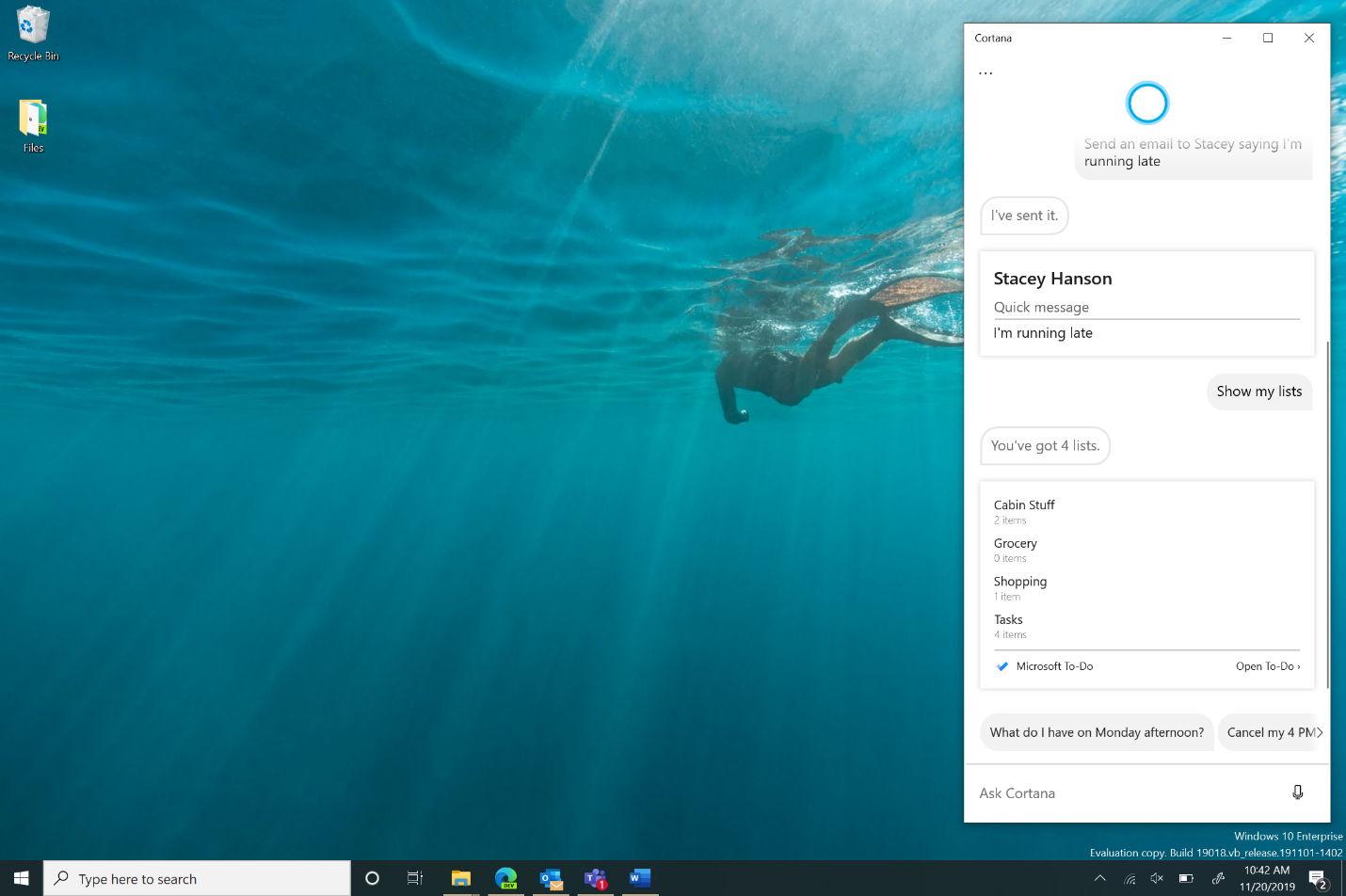 Cortana desacoplado de la barra de tareas de Windows 10 Insider
