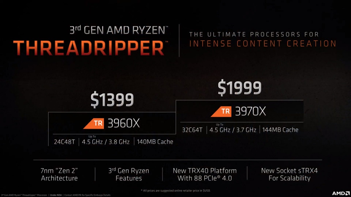 Threadripper 3960X y 3970X