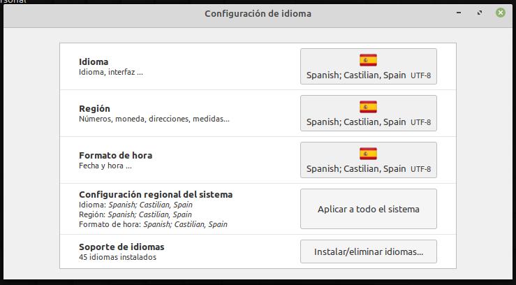 Aplicar el idioma a todo el sistema en Linux Mint