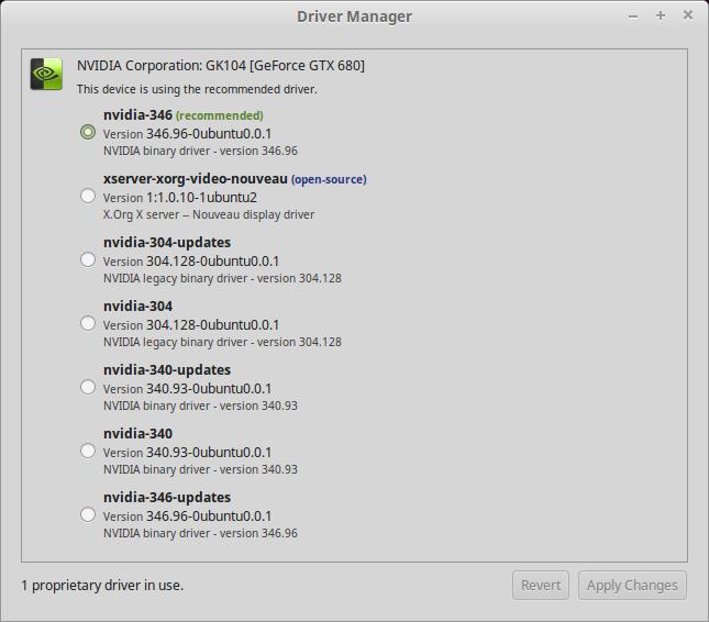 Gestor de controladores de Linux Mint para instalar el driver de NVIDIA